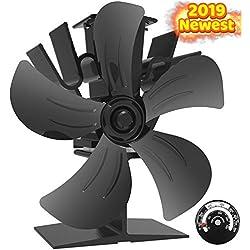 Ventilateur de poêle à bois 5 lames alimenté par la chaleur avec jauge de température - Augmente 40% d'air chaud en plus que les 4 ventilateurs de cheminée silencieux - Respectueux de l'environnement