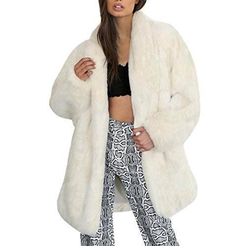 (TianWlio Mäntel Frauen Weihnachten Damen Mantel Langarm Strickjacke Jacke Outwear Herbst Winter Warm Faux Pelzmantel Jacke Winter Solide Parka Revers Oberbekleidung)