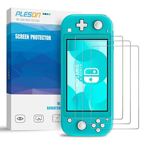 Pleson Panzerglas für Nintendo Switch Lite [3 Stück], [Lebenslange Ersatzgarantie] Blasenfreie Folie & 2.5D 9H HD Klar Schutzfolie Displayschutzfolie für Nintendo Switch Lite 2019