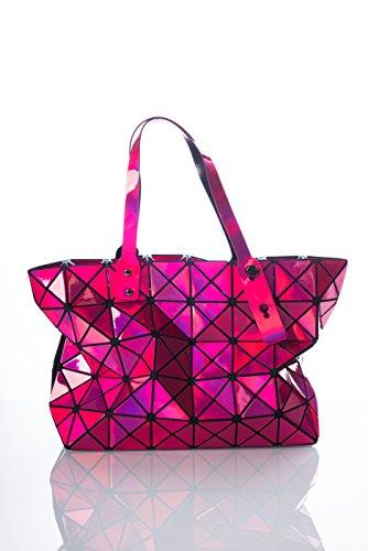 CUBIC STYLE geometrica (44 cm x 28 cm x 11 cm) borsa STAR lucido rosa