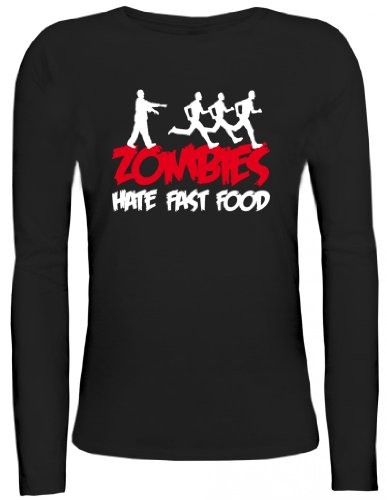 Shirtstreet24, ZOMBIES HATE FAST FOOD, Halloween Zombie Lady / Girlie Longsleeve Langarm T-Shirt , Größe: S,schwarz (Halloween-kostüme Walking Dead Womens)