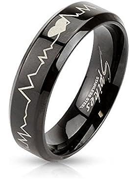 Paula & Fritz® Ring aus Edelstahl Chirurgenstahl 316L schwarz 6mm breit mit lasergraviertem Herzschlag verfügbare...