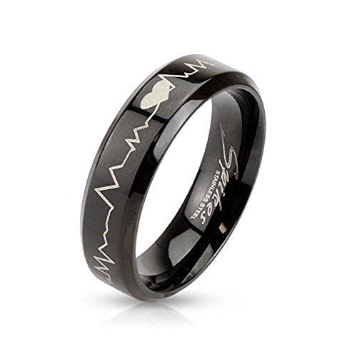 Paula & Fritz® Ring aus Edelstahl Chirurgenstahl 316L schwarz 6mm breit mit la.