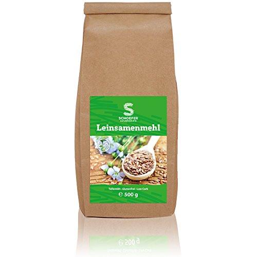 Schoefer Bio Leinsamenmehl Low Carb teilentölt glutenfrei vegan, kohlenhydratarmes Mehl reich an Ballaststoffen Eiweiß Mehl, Leinsamen 500 g (Leinsamen Vorteile Von)