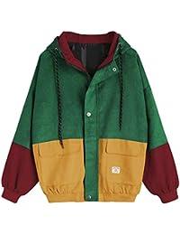 72c76bbd8c64 Showlovein Manteau Femme Coupe-Vent à Capuche en Velours côtelé Patchwork  Veste aux Manches Longues