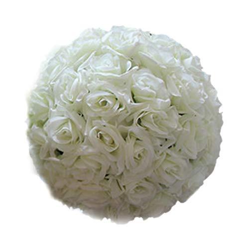 Zeagro20 cm Tiffany-Blau Hochzeitsdekorationen künstliche Rose Seidenblume Ball Tischdekoration Minze Dekokugel Wein£ ̈ ¨ cremeweiß £©