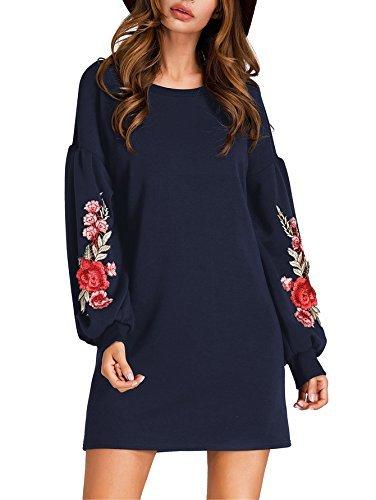 ROMWE Damen Langarm Kleid mit Blumenstickerein Winter Herbst Sweatshirt Shirt Kleid Blau L