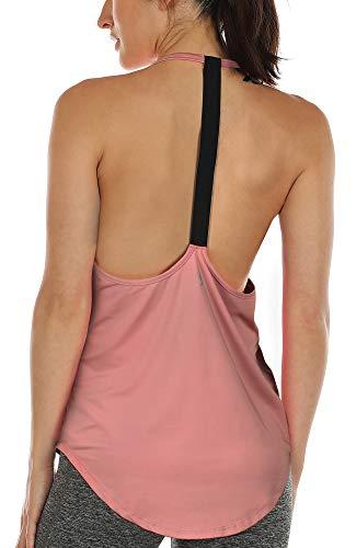 Shirt Sport Top Lang - Rückenfrei Workout Gym Tanktop Yoga Oberteile (S, Peony) ()