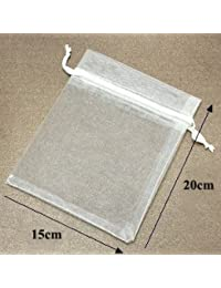 Generic Light Blue : 15x20cm White Organza Bag Jewelry Bags Pouch Wedding Gift Bag 200pcs/lot (16 Colours To Choose)