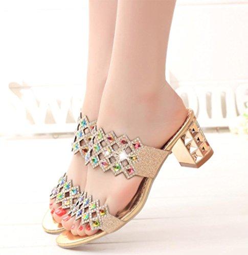 sandales d'été pur strass sandales chaussures pour femmes avec une épaisseur Gold