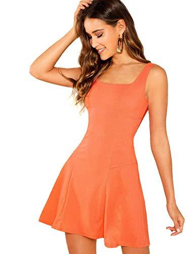 DIDK Damen Ärmellos Kleider Camisole Minikleider Einfarbig A Linie Sommerkleid Elegant Casual Freizeitkleid Strandkleid Ballonkleid Orange S