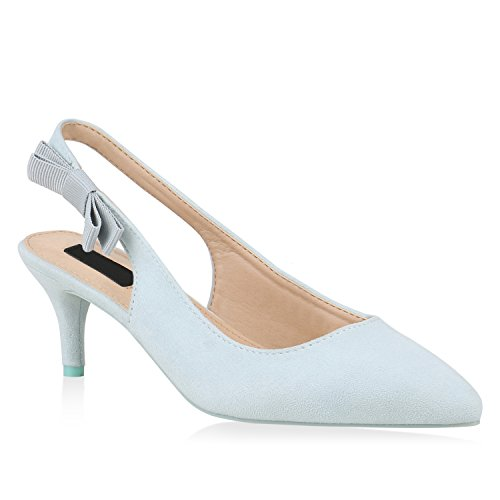 Damen Pumps Slingpumps Veloursleder-Optik Stiletto Party Mid Heels 153773 Hellblau 36 Flandell