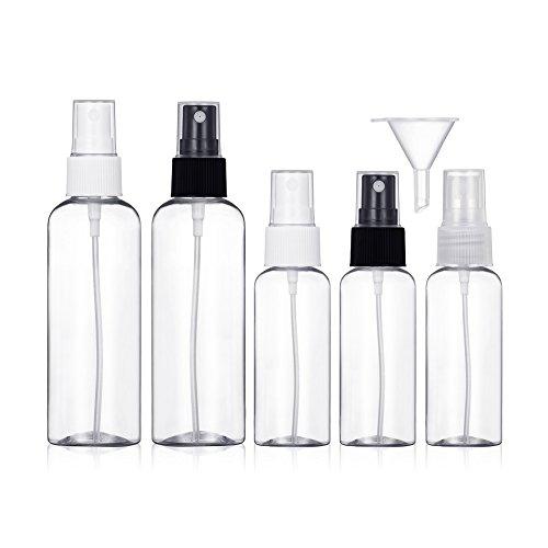 Sprühflasche Leer Transparente Feinen Nebel Sprühflasche Reise Zerstäuber Flaschen 50ml&100ml, 1er Pack (5 Stück)
