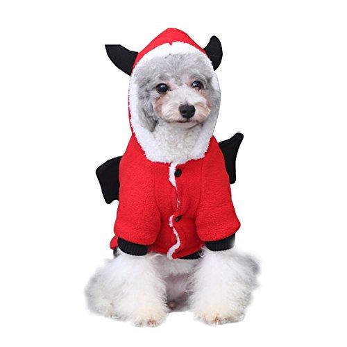 Monster Pet Kostüm (GWELL Hundejacke Hundekostüm Hundepullover Kapuzenpullover Kapuzenpulli mit Ärmel für Hund Katze im Herbst Winter Devil)