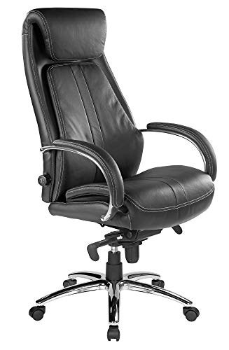 Kijng Chefsessel Throne - Schwarz Echtleder - Ergonomischer Bürostuhl Schreibtischstuhl Drehstuhl Sessel Stuhl