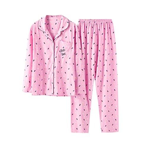 MOXIN Pigiami di primavera e autunno femmina Vestiti Sottili ,Pink M