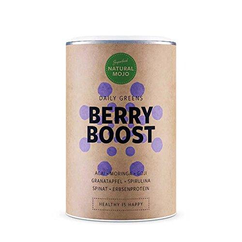 Poudre Superfood (Super-aliments) | Natural Mojo Berry Boost (Fruits Rouges) | Renforce le Sytème Immunitaire, Réduit la Fatigue | Apporte de l'Énergie | Mix de Super-aliments pour les Jus, Smoothies et Shakes | Aliments Verts (Epinard, Spiruline, Moringa, Protéine de Pois) et Fruits Rouges (Açaï, Grenade, Myrtille, Goji, Camu Camu) | Vitamine C, Vitamine B12, Fer, Antioxydants et Nutriments | 153g | Fabriqué en Allemagne (Fruits Rouges)