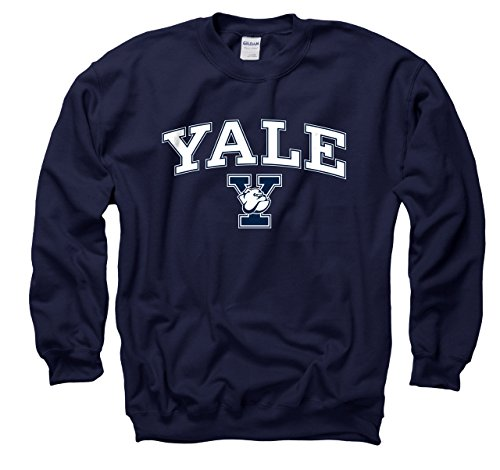 Campus Farben Yale Bulldogs Erwachsene Arch & Logo Gameday Crewneck Sweatshirt - Marineblau, Herren, Navy, Large Bulldogs Fleece-sweatshirt