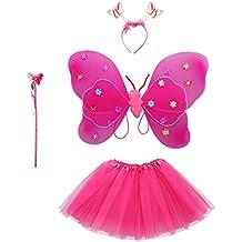 MagiDeal 4pcs Ala de Mariposa + Varita Mágica + Venda + Falda de Tutú para Disfraces de Niñas Nilón Felpa Decoración de Fiesta de Niños 8 Colores - Rosa roja