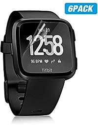 Fitbit Versa Schutzfolie 6x [Vollständige Abdeckung] ELECHOK HD Transparenter Klarsichtschutzfolie Smartwatch Displayschutzfolie Folie TPU, Anti-Bubble