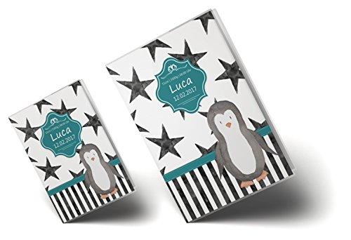 U-Heft Hülle SET Creative Royal Untersuchungsheft & Impfpasshülle wunderschöne Geschenkidee personalisierbar mit Namen und Geburtsdatum (U-Heft Set personalisiert, Pinguin) - 5