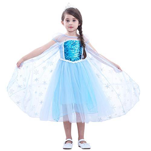 Magogo Mädchen Prinzessin Kleid ELSA Kostüm mit Krone Pailletten Cernival Party Kostümrock Karneval Outfit (L 121-130cm, Blau) (Elsa Krönung Kleid Kostüm Kinder)
