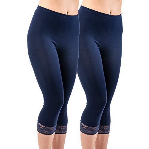 2 Pack Fashion Legging (HERMKO 5722 2er Pack Damen 3/4-Leggings mit Spitze, Farbe:Marine, Größe:48/50 (XL))