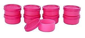 Signoraware Nano Round Small Plastic Container Set, 40ml, Set of 9, Pink