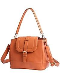WOMEN MARKS Women's PU Handbag, 6x9-inch(Orange)