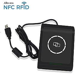 NFC RFID Lecteur de Cartes Sans Contact Smart Reader & Writer USB 13,56 MHz Compatible ISO 14443 Types A et B , ISO/IEC18092+2 pièces M1 Cards +SDK