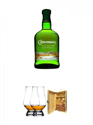 Connemara Peated Single Malt 0,7 Liter + The Glencairn Glass Whisky Glas Stölzle 2 Stück + 1a Whisky Holzbox für 2 Flaschen mit Hakenverschluss