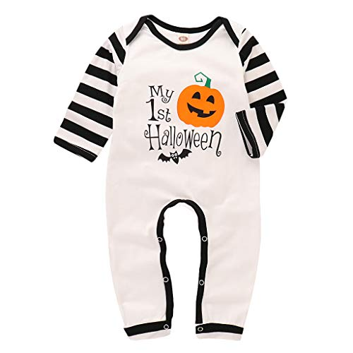 JAGENIE Halloween-Accessoires, Halloween-Baby-Kleidung, Kleinkinder, Buchstaben, Kürbis Bedruckt, Cartoon-Strampler, Baumwolle, 80, Reference Picture or Product Description
