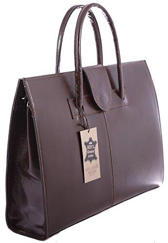 Frau Handtasche Aktentasche Schultertasche und Geldbörsen, 100% echtes Leder Made in Italy Dunkelbraun