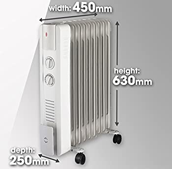 Skotek 2000w Electric Oil Filled Radiator Heater With 3 Power Settings, Adjustable Thermostat, Thermal & Tip Over Cut-out Switch 5