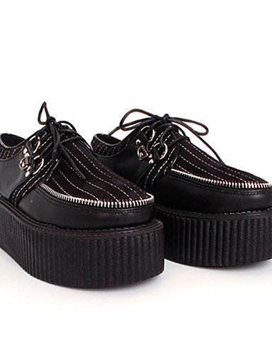 ZQ Scarpe Donna - Stringate - Casual - Creepers / Punta arrotondata - Plateau - Tessuto - Nero , black-us8.5 / eu39 / uk6.5 / cn40 , black-us8.5 / eu39 / uk6.5 / cn40 black-us5.5 / eu36 / uk3.5 / cn35