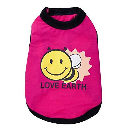 (PET Nette Biene Gedruckt Haustier Kleidung Sommer Baumwolle Weste Weichen Overall T-Shirt Für Welpen Kleine Hunde Katze Costume Pet Kleidung für kleine Hunde (Farbe : Rosa, größe : L))