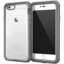 iPhone 6 fundas carcasa caso Case, roocase [Glacier TOUGH] iPhone 6 (4.7) Hybrid Scratch Resistant Clear PC / TPU Armor Full Body Protection Case Cover with Built-in Screen Protector for Apple iPhone 6 4.7, Space Gray