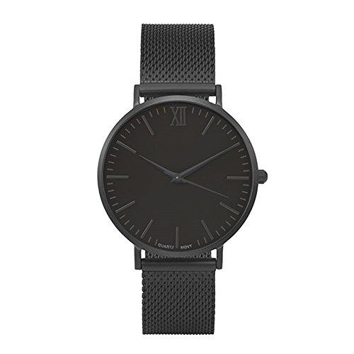 Souarts Herren Armbanduhr Einfach Mesh Metallarmband Casual Analoge Quarz Uhr Schwarz Weiss (Schau mal dem Bild)
