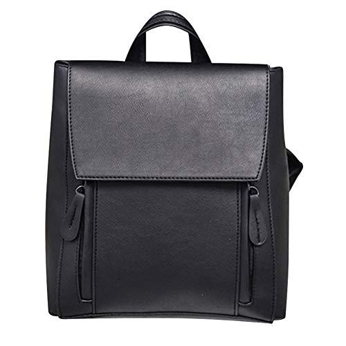 Messaggero borsa, solido colore donne pu pelle grande borsetta single-spalla borsa zaino(nero)