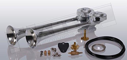 Preisvergleich Produktbild LKW Druckluft Doppelhorn 38cm und 42cm lang (Trichter aus hochglanzverchromten Messing) + Anschlussmaterial