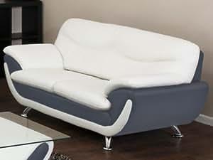 Canapé 2 places en simili INDICE - Bicolore blanc et gris