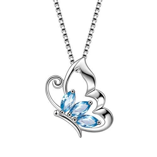 AuroraTears 925 Sterling Silber Schmetterling Anhänger Halskette Topas Saphir Frauen Mädchen Schmuck, London Blau DP0014L (London Halskette Blau)