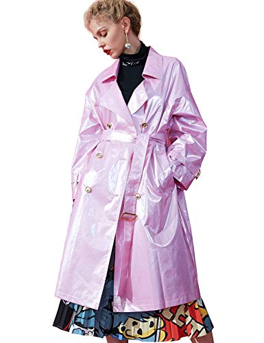 Elf sack Damen Trenchcoat in Lackleder-Optik Revers Zweireihiger Langer Mantel Lackmäntel mit Gürtel Rosa L