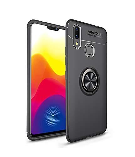 Caso Xiaomi MI Max 3 Cover, capa de silicone fibra de carbono preto RosyHeart para Xiaomi MI Max 3 [suporte invisível] fina e macia TPU Bumper Cubra com giro anel [360 graus rotação do anel aperto] - preto + branco