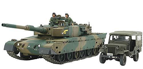 TAMIYA 25186 25186-1:35 JGDF KPz 90 mit Typ 73 Fahrzeug, Modellbau, Plastik Bausatz, unlackiert