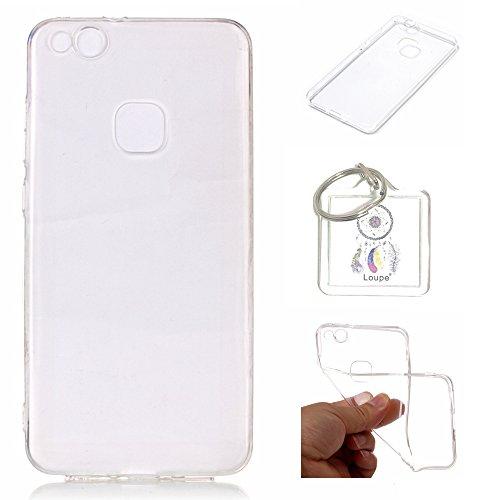 Preisvergleich Produktbild Hülle Huawei P10 Lite 5.2 Zoll Hülle Soft Flex Transparent Silikon TPU Handyhülle Schutzhülle für Huawei P10 Lite 5.2 Zoll Case Cover - Crystal Clear + Schlüsselanhänger (P) (1)