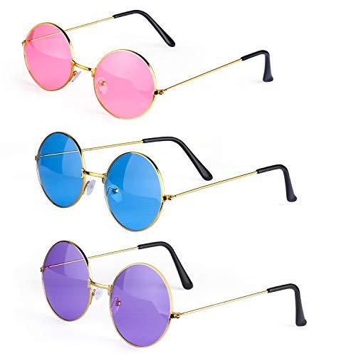 Haichen Hippie Retro Sonnenbrille 60er Jahre John Lennon Style runde farbige Brille Kostümzubehör (C)