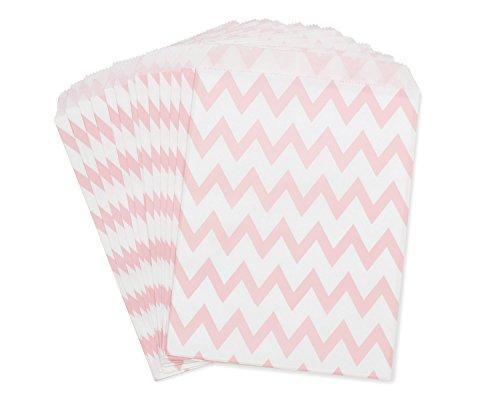 wolga-kreativ 25 Papiertüten rosa ZigZag Geschenktüten Candy paper bags Flachbeutel papier tüten Geschenktüte Kindergeburtstag Hochzeit Kinder kleine bedruckte Mitgebseltüten Gastgeschenk klein