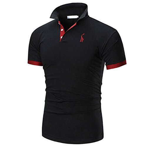 T-Shirt,SUCES Mode Geschäft Herren Casual Slim Kurzarm Top Bluse Herren Poloshirt T-Shirt Kurzarm Training Jersey Einfarbig Plaid Men's Polo Kragen Freizeit Sport (L, Black)