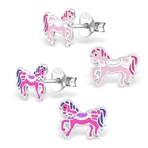 schmuxxi 2 Paar Kinder Ohrringe 925 Silber Pferde Pony Ohrstecker Pink und Rosa